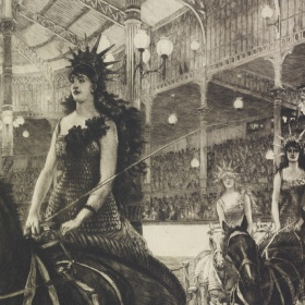 This artwork depicts as scene of women riding in chariots, pulled by horses. The woman in the foreground wears a black gown and ornamental headpiece. Two women ride in chariots in the background wearing similar costumes. Decorative arches, railings and can be seen in the background, along with a blurry crowd of spectators.