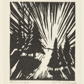 A block print by Mary E. Wrinch consisting of black and white ink on paper. A series of four trees cast shadows on the ground as beams of light shoot from the middle of the frame.