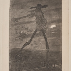 A black and white lithograph. A figure with elongated limbs can be seen in the centre wearing a cloth wrapped around their body. Below the figure there is a cityscape at night. The moon can be seen peaking through the clouds in the distance.