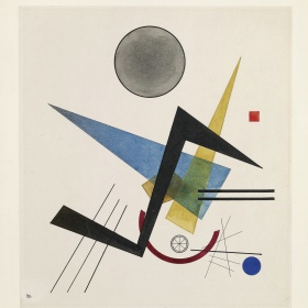 A painting consisting of a dozen geometric shapes: a small red square in the top left corner of the image; a large grey circle outlined in black in the upper-centre; a large blue triangle in the centre; and a series of black lines that run on a diagonal.