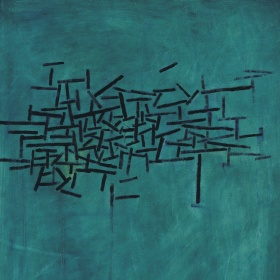 A painting consisting of a series of black marks on a blue and green background.
