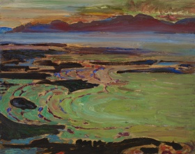 An abstract painting making use of a haze of colors including green, black, purple and blue. A mountain line can be seen in the background, while a dark shore can be seen in the foreground.