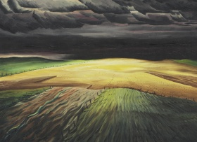 A painting of a large open field made from small green, black and yellow strokes of paint. A dark storm appears above the field, moving forward the foreground. A series of small fences can be seen in the field, lining each section of crops.