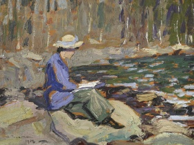 A painting of Arthur Lismer's wife, who sits on a stone along the shore of a lake. The painting is imprecise, created from large marks of colour. The wife wears a purple shirt, yellow hat with a purple ribbon and holds a book. The water around her is dark green with light blue flecks.