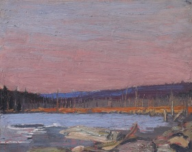 A painting of a landscape. Leafless trees can be found along the horizon with a pink sky above. A lake is in the mid-ground surrounded by a shore made from rocks and orange nondescript flora.