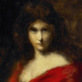 A blurry painted portrait of a girl. She wears a red dress as she stares towards the viewer. Her hair is pinned up.