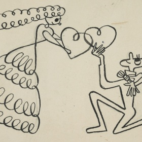 An illustration of two figures exchanging two drawn hearts. The figure on the right bows on one knee as the other, donning a dress, looks down on him. A bouquet of flowers can be found to the left of them held in a top hat.