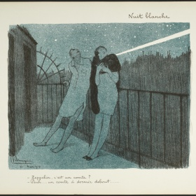 A print in blue, black and white depicted two figures leaning against a thin black railing on a balcony. It is night out and there are small white stars in the sky above the figures. One figure (left) wears a long white dress shirt and no pants. The figure on the right wears a dress and a thick black scarf around their neck.