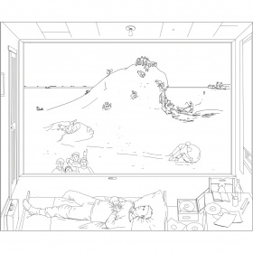 Line drawing of William Kurelek's Reminiscences of Youth