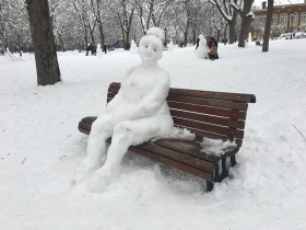 photo of snow scultpure