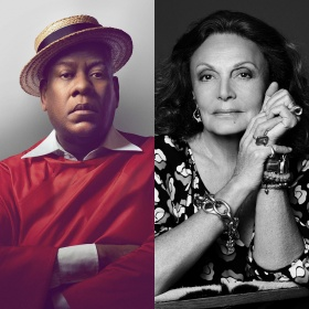 headshots of speakers Andre Leon Talley in a red top and straw boater hat, and Diane von Furstenburg in black and white