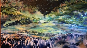 a colourful painting of a beaver pond