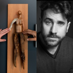"Image split into two: On the left a photo of two hands outside the frame reaching to touch a sculpture by Persimmon Blackbridge. The piece is titled ""Soft Touch"", and is a handcrafted figure made of wood, bone and plastic to resemble a person constructed from found objects. It is mounted on a wood panel. On the left black and white photograph of figure looking and smiling at camera"