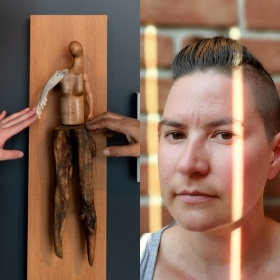 "Image split into two: On the left a photo of two hands outside the frame reaching to touch a sculpture by Persimmon Blackbridge. The piece is titled ""Soft Touch"", and is a handcrafted figure made of wood, bone and plastic to resemble a person constructed from found objects. It is mounted on a wood panel. On the left photograph head shot of figure looking at camera with sunlight on their face"