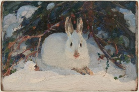 Painting of a white rabbit sitting in snow under bushes