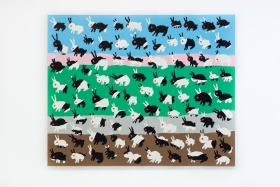 Image of a painting with black and white bunnies all over, with bands of colour in the background, sky blue at the top, then soft pink, bright green, soft gray and earthy brown at the bottom.