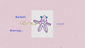 Text reading Rachel's drawing...(of Rachel). Illustration of a purple person-like figure with a smile