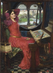 Woman wearing a red dress sat at a loom next to a window with her hands behind her head