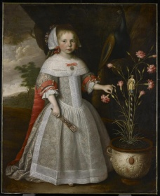 Young girl dressed in 17th century dress holding a fan in one hand and standing next to carnations, looking out to the viewer,