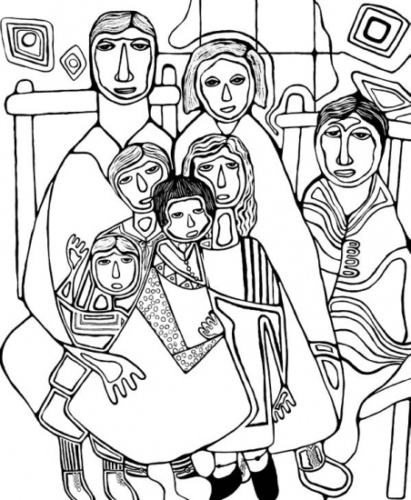 Line drawing of Odjig family