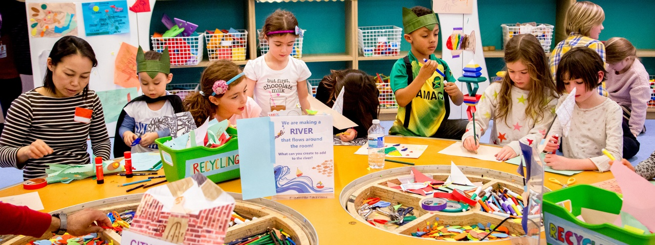Kids making art in the Dr. Mariano Elia Hands-On Centre