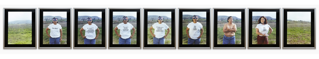 Shelley Niro. The Shirt, Nine duratrans transparencies in lightboxes,