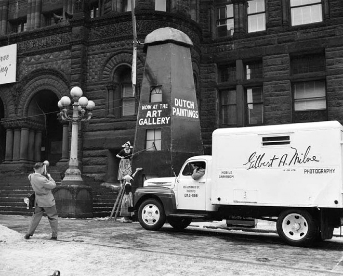 Promotional photographs being taken in front of Toronto City Hall 1955.