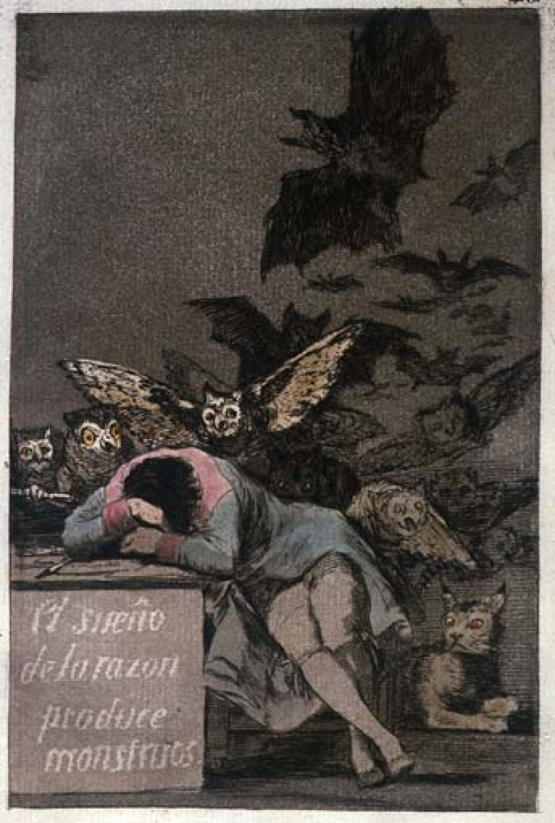"Francesco Goya  (Spanish,1746-1828)  ""The dream of reason produces monsters"""