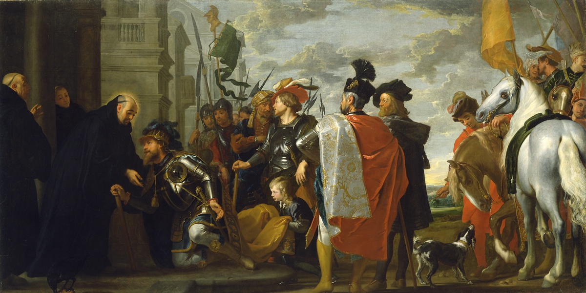 Gaspar de Crayer, (Flemish 1584-1669) Saint Benedict receiving Totila, King of the Ostrogoths, 1633