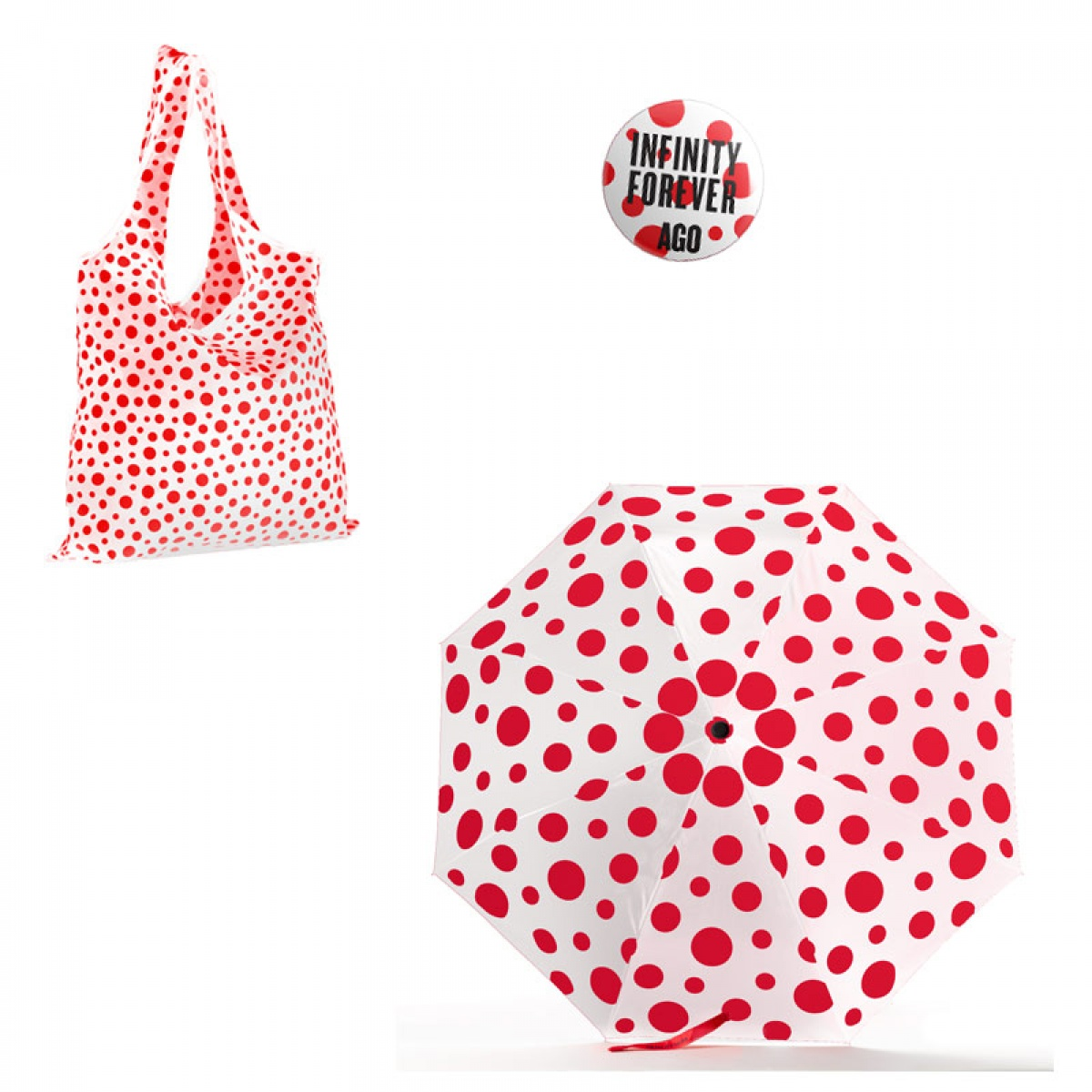 Examples of merchandise - tote, umbrella, button