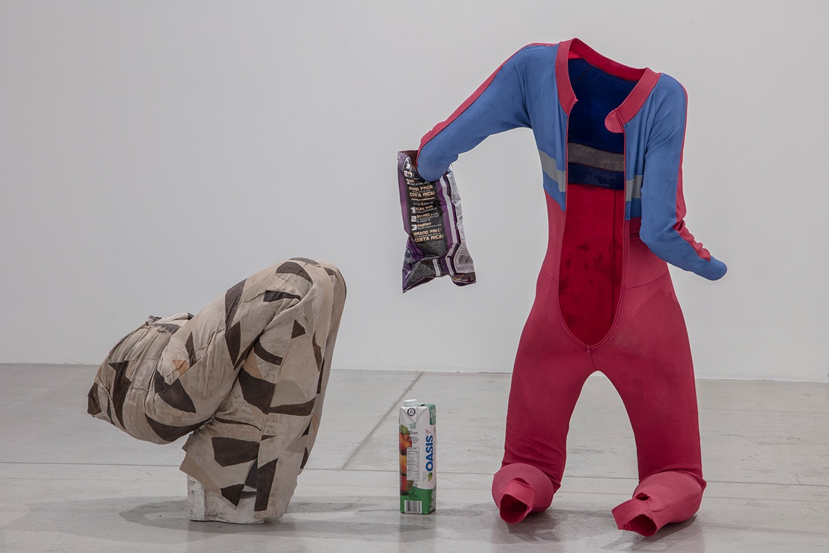 Installation view of Valérie Blass, The Mime, the Model and the Dupe, 2019, acrylic gesso, paint, plaster, copper, empty chip bag, jumpsuit, resin, epoxy and fiberglass