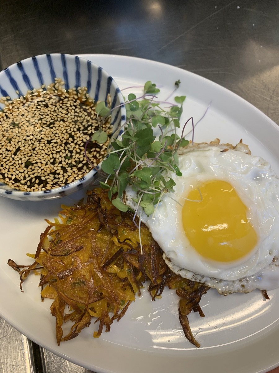 Korean-style pumpkin pancakes with fried egg