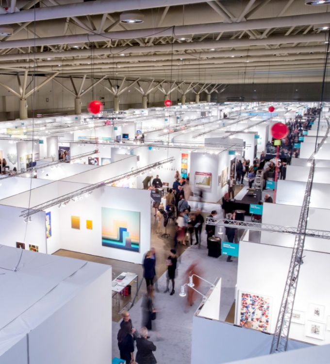 Birds eye view of the Art Toronto booths