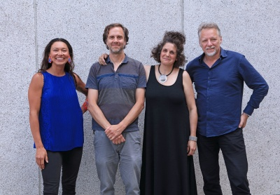 (L to R) Podcast host Sarain Fox with filmmakers Nicholas de Pencier and Jennifer Baichwal, and photographer Edward Burtynsky