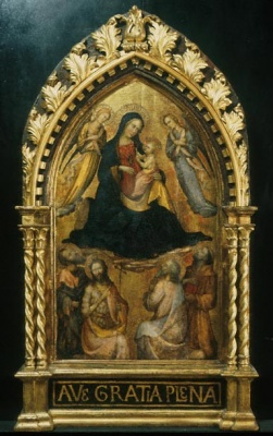 Virgin and Child with Angel and Four Saints, painting by Master of the Straus Madonna