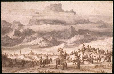Noah's Ark on Mount Ararat, a Camel Train outside a City in the Foreground painting by Lambert Doomer