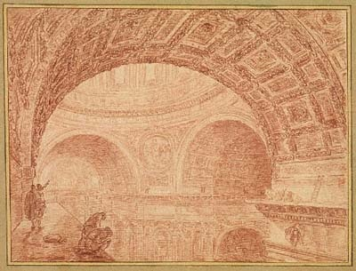 View of the Vaulting in St.Peter's Taken from an Upper Cornice, painting by Hubert Robert