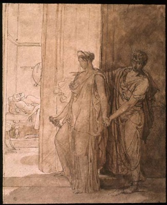 Clytemnestra hesitates before killing the sleeping Agamemnon while her accomplice Egistus urges her on, painting by Pierre Narcisse Guerin