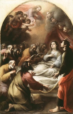 The Dormition of the Virgin 17th century, painting by Esteban Marquez
