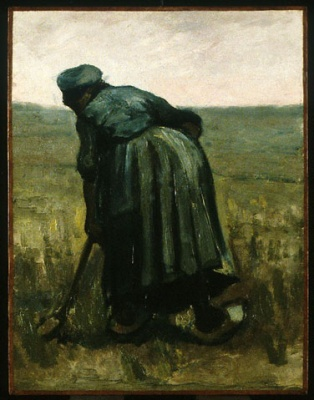 A woman with a spade, seen from behind, painting by Vincent van Gogh