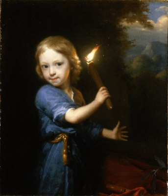 Boy Holding a Torch, painting by Godfried Schalcken