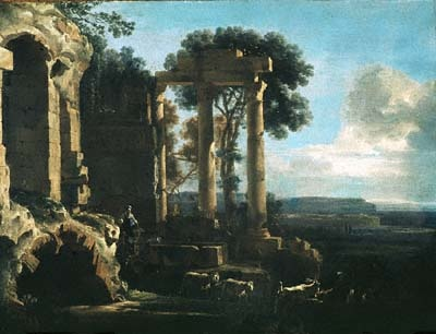 Landscape with Ancient Ruins, oil painting by Jan Asselijn