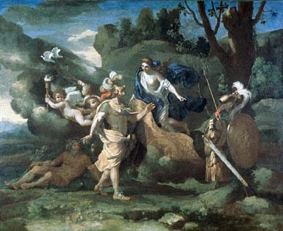 Venus, Mother of Aeneas, presenting him with Arms forged by Vulcan, painting by Nicolas Poussin
