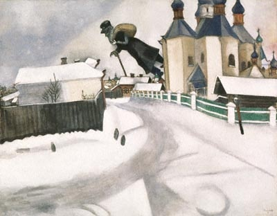 Over Vitebsk Painting by Marc Chagall