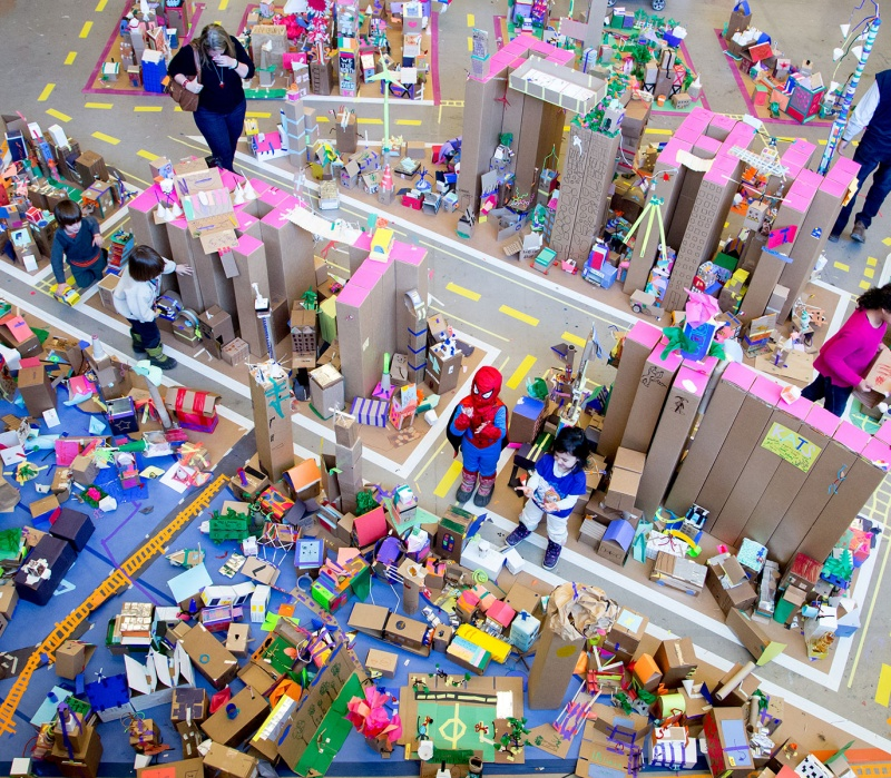 life size city made of cardboard