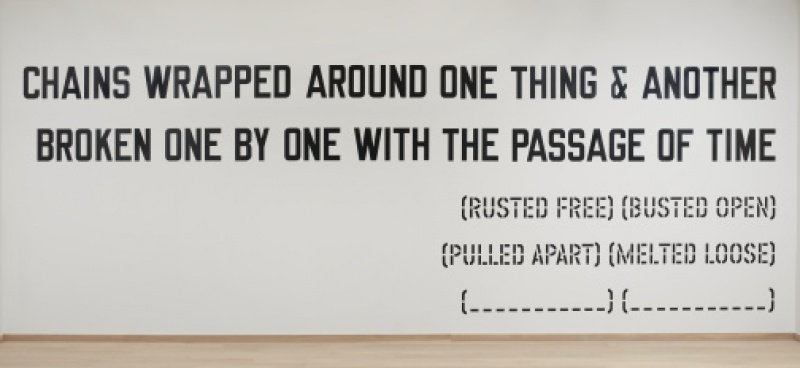 Lawrence Weiner chains wrapped around wall piece