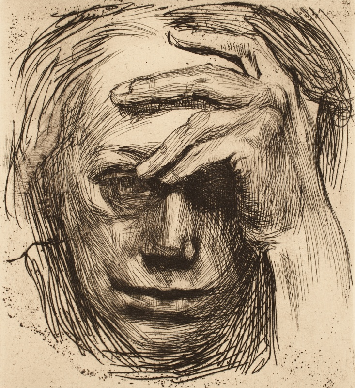 kollwitz Self-portrait with hand to forehead