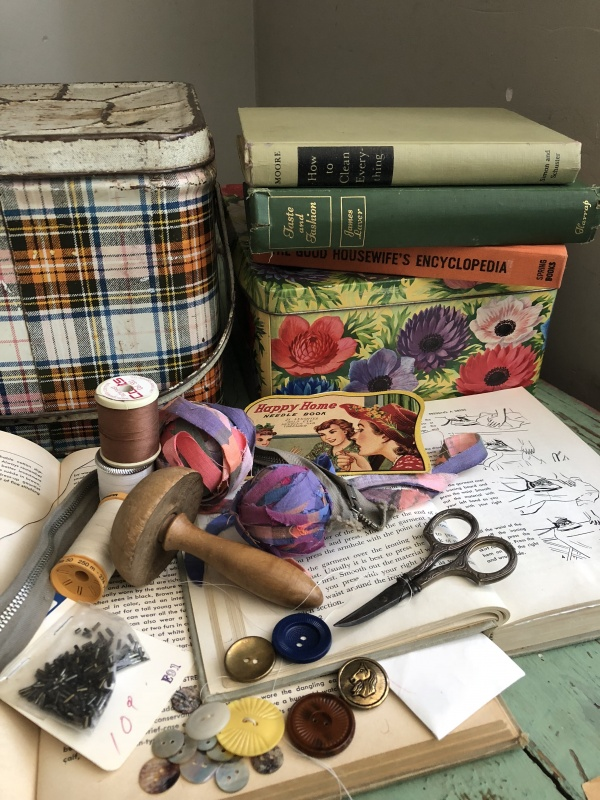 sewing tools and buttons