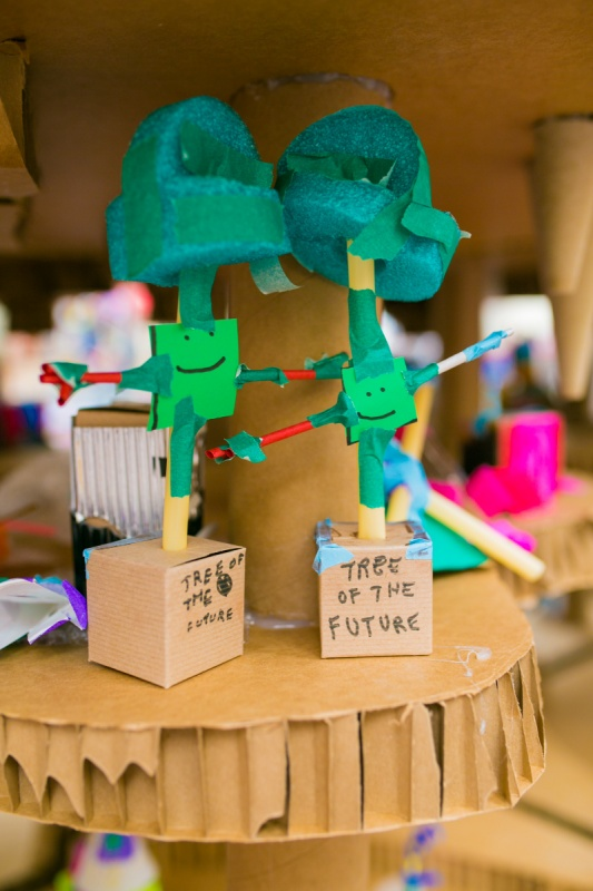 paper sculptures created at Family Sundays event