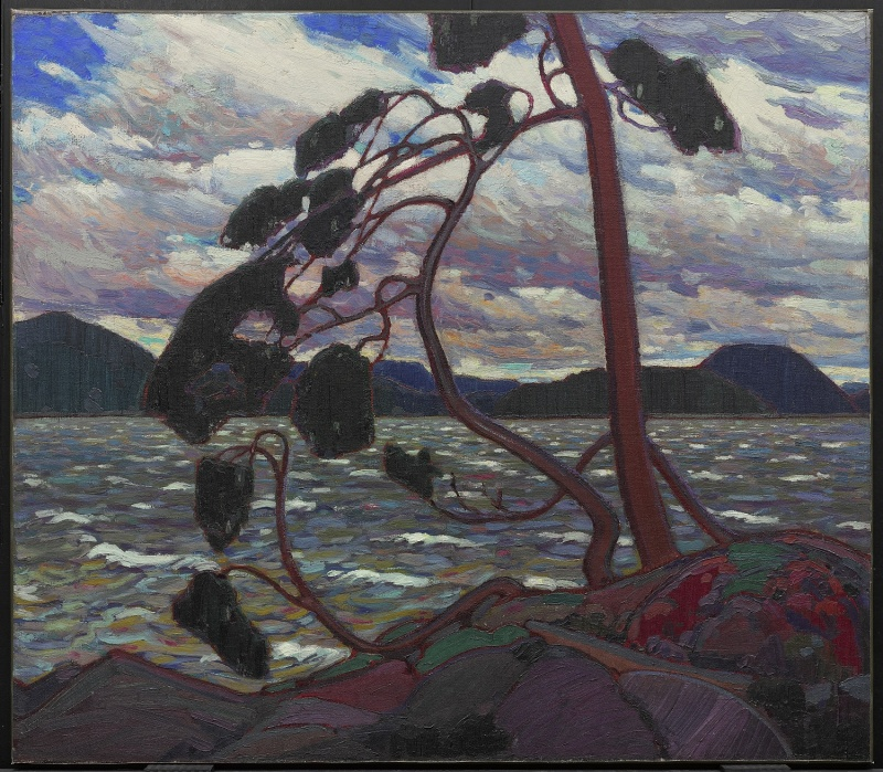 "Tom Thomson's painting ""The West Wind"" featuring a tree against a lake and mountainous background."